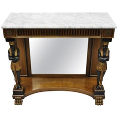 Egyptian Revival Marble Top Figural Carved Ebonized Console Hall Table w Drawers