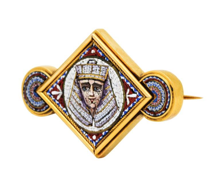 Women's or Men's Egyptian Revival Micro Mosaic 18 Karat Gold Pharaoh Brooch For Sale