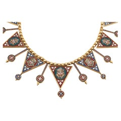 Egyptian Revival Micromosaic and Gold Necklace