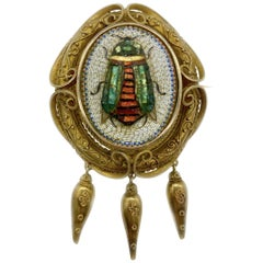 Egyptian Revival Micromosaic Pendant Brooch