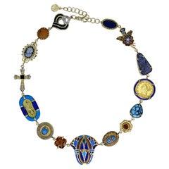 Egyptian Revival Multi-Gemstone and Vintage Pendant 14k Gold Bohemian Necklace
