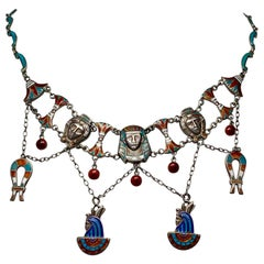 Egyptian Revival Necklace Pharoah Goddess Lotus Antique Art Deco Silver Enamel