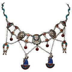Egyptian Revival Necklace Pharoah Goddess Lotus Antique Art Deco Silver Enamel