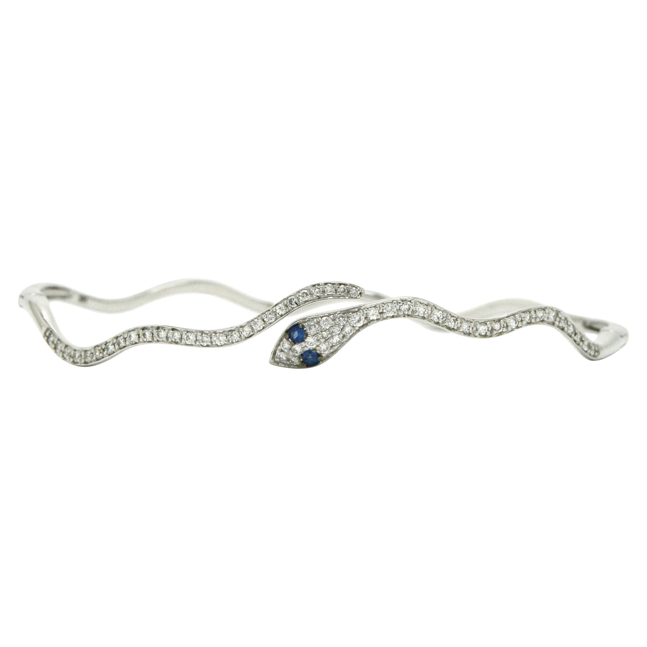 Egyptian Revival Pave' Diamond Snake Bangle Bracelet Cuff Blue Sapphire Eyes