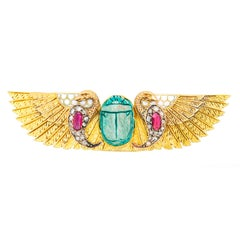 Egyptian Revival Peacock and Scarab Brooch