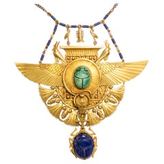 Egyptian Revival Pectoral Necklace by Court Jeweller Hugo Schaper, circa 1900