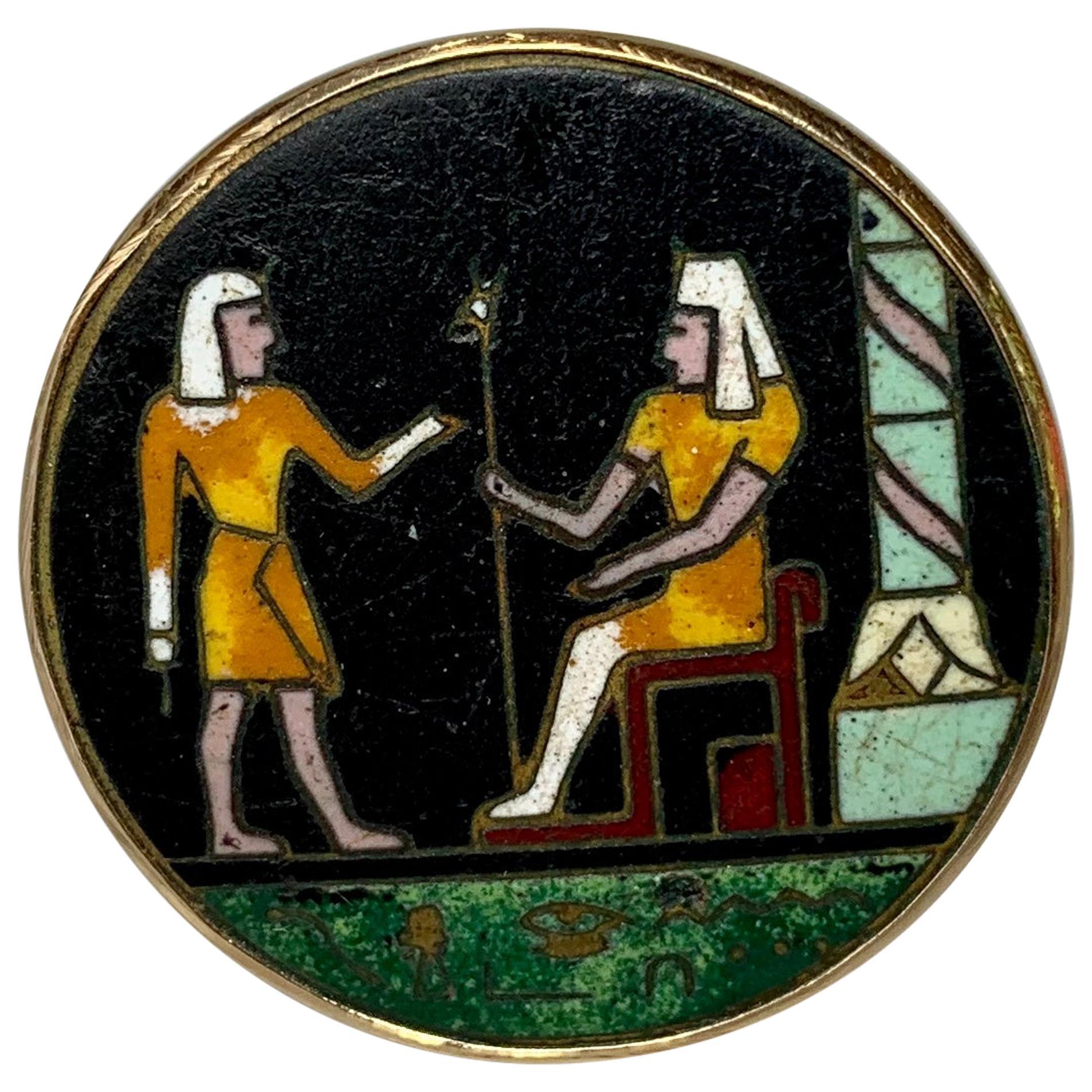 Egyptian Revival Pietra Dura Pharoah Ring 14 Karat Gold