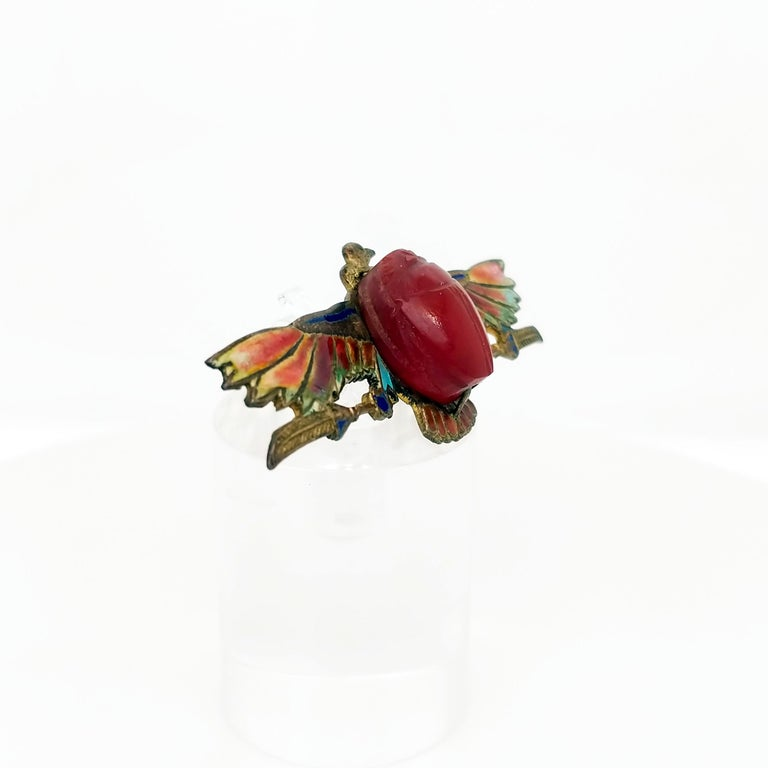 Egyptian Revival Plique-a-Jour Carved Carnelian Scarab Eagle Pin, 1923 In Good Condition For Sale In Lexington, KY