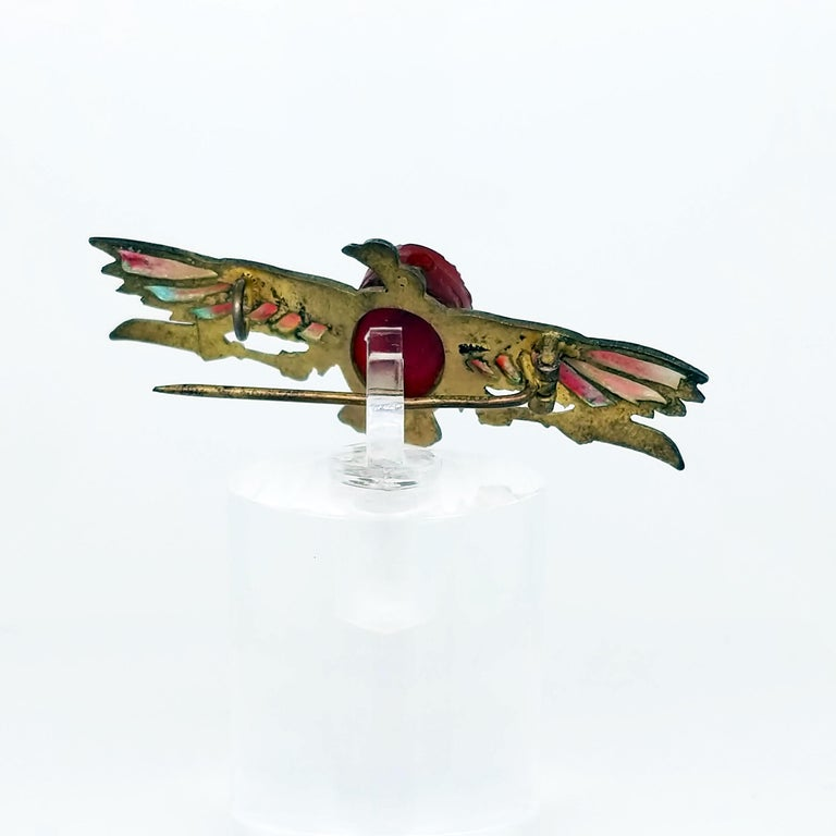 Egyptian Revival Plique-a-Jour Carved Carnelian Scarab Eagle Pin, 1923 For Sale 3