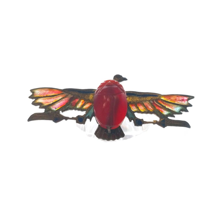 Egyptian Revival Plique-a-Jour Carved Carnelian Scarab Eagle Pin, 1923 For Sale 2