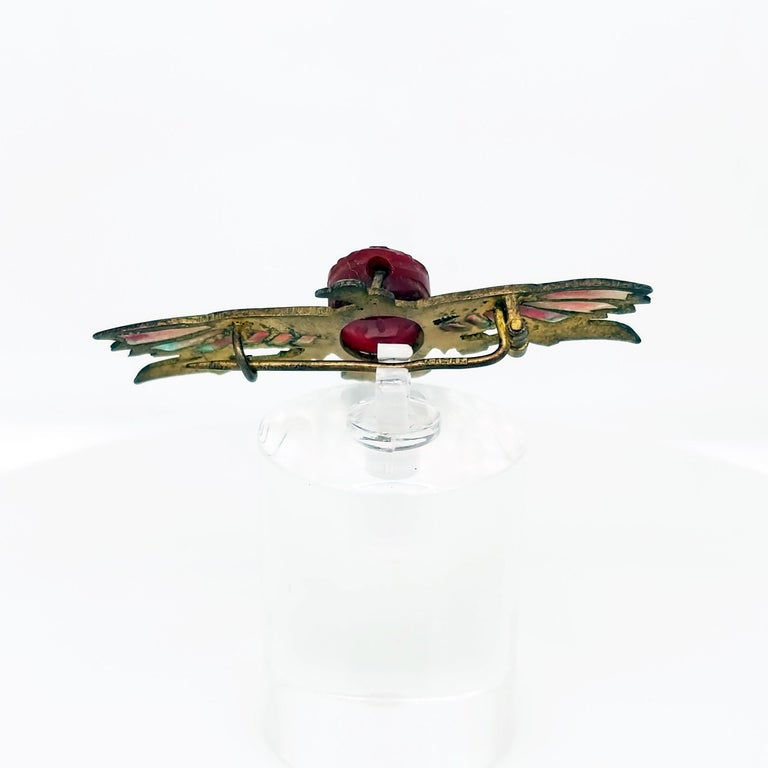 Egyptian Revival Plique-a-Jour Carved Carnelian Scarab Eagle Pin, 1923 For Sale 4