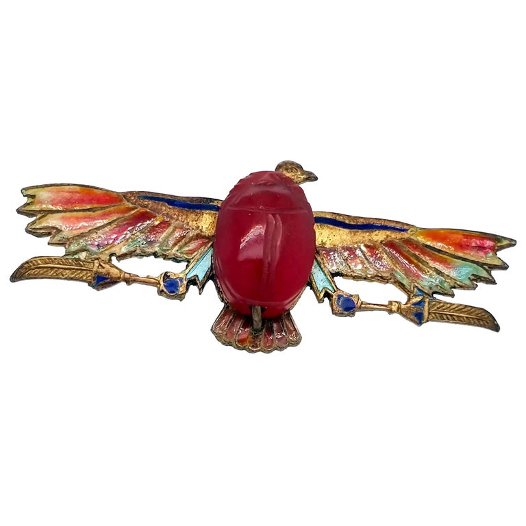 Egyptian Revival Plique-a-Jour Carved Carnelian Scarab Eagle Pin, 1923 For Sale