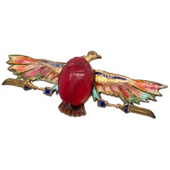 Egyptian Revival Plique-à-Jour Carved Carnelian Scarab Eagle Pin, 1923