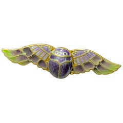 Egyptian Revival Plique A Jour Enamel Winged Scarab Insect Brooch Pin Art Deco