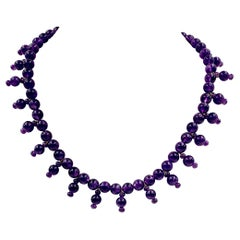 Egyptian Revival Royal Purple Amethyst Bead Necklace, 14k Gold Bamboo Clasp