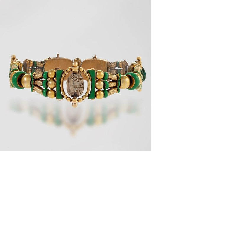 Egyptian Revival Scarab Bracelet by Watherston & Son In Excellent Condition For Sale In New York, NY