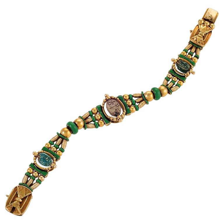 Egyptian Revival Scarab Bracelet by Watherston & Son For Sale