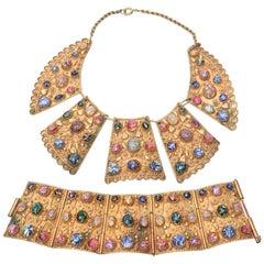 Egyptian Revival Bib Collar Necklace And Cuff Bracelet Set Vintage