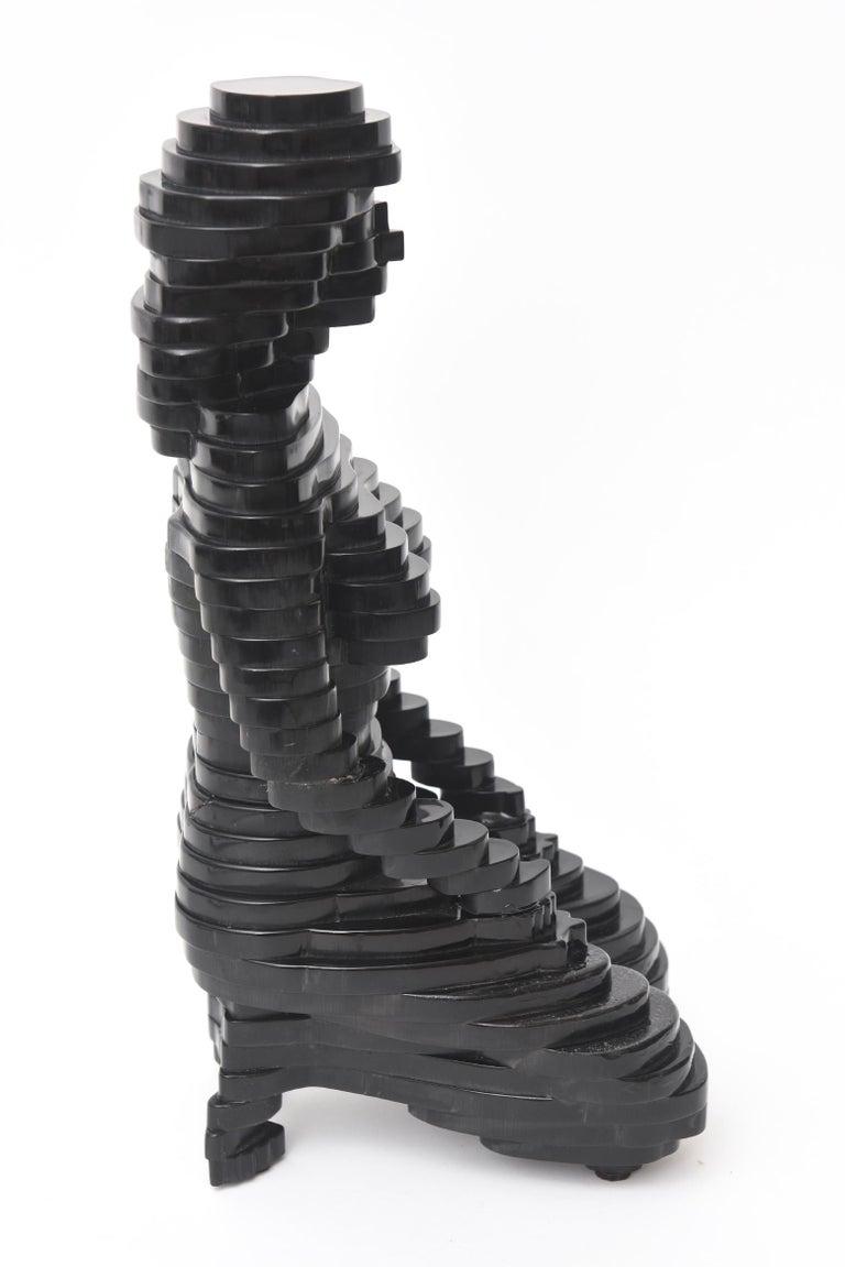 Unknown Egyptian Revival Black Resin Sphinx Sculpture Vintage For Sale