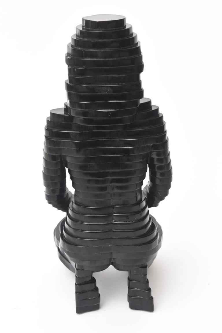 Egyptian Revival Black Resin Sphinx Sculpture Vintage For Sale 1