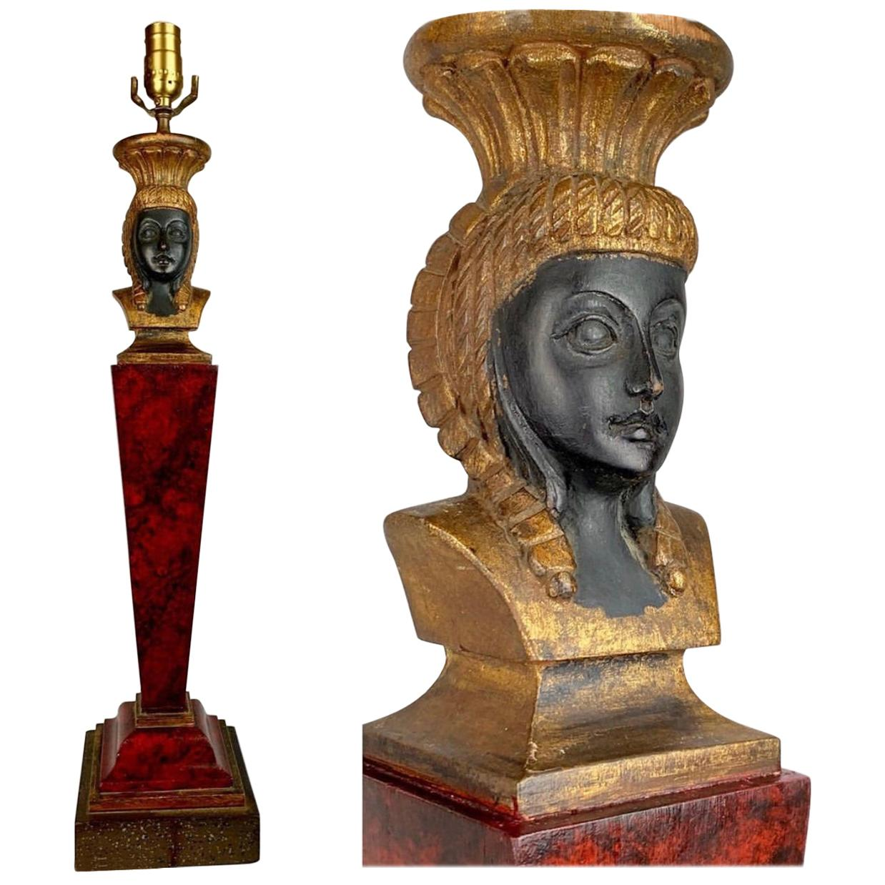 Hand Carved Egyptian Revival Dark Red Wood Lamp with Shade
