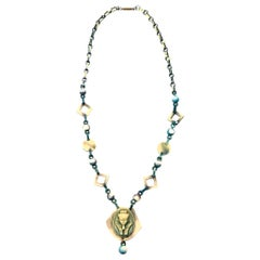 Egyptian Revival Teal Turquoise Green and Tan Celluloid Necklace Vintage