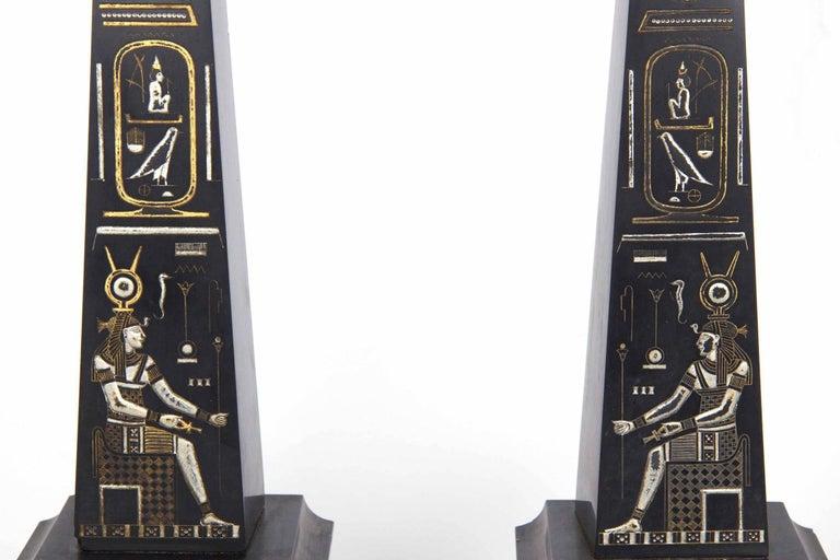 Egyptian Revival Three-Piece Clock Garniture Flanked, Obelisk France, circa 1880 For Sale 8