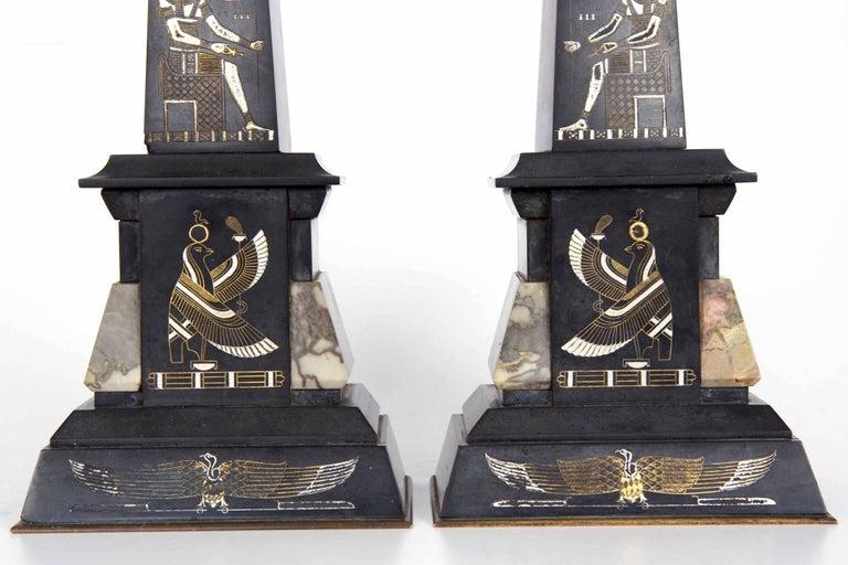 Egyptian Revival Three-Piece Clock Garniture Flanked, Obelisk France, circa 1880 For Sale 9