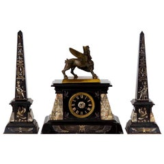 Egyptian Revival Three-Piece Clock Garniture Flanked, Obelisk France, circa 1880