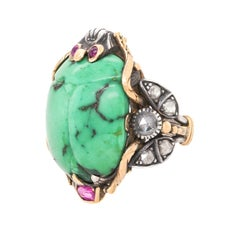 Egyptian Revival Turquoise and Diamond Scarab Ring, c1870s