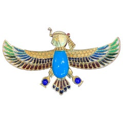 Egyptian Revival Turquoise and Plique a Jour enamel Sphinx Brooch