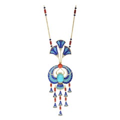 Egyptian Revival Turquoise, Coral and Diamond Enameled Gold Necklace