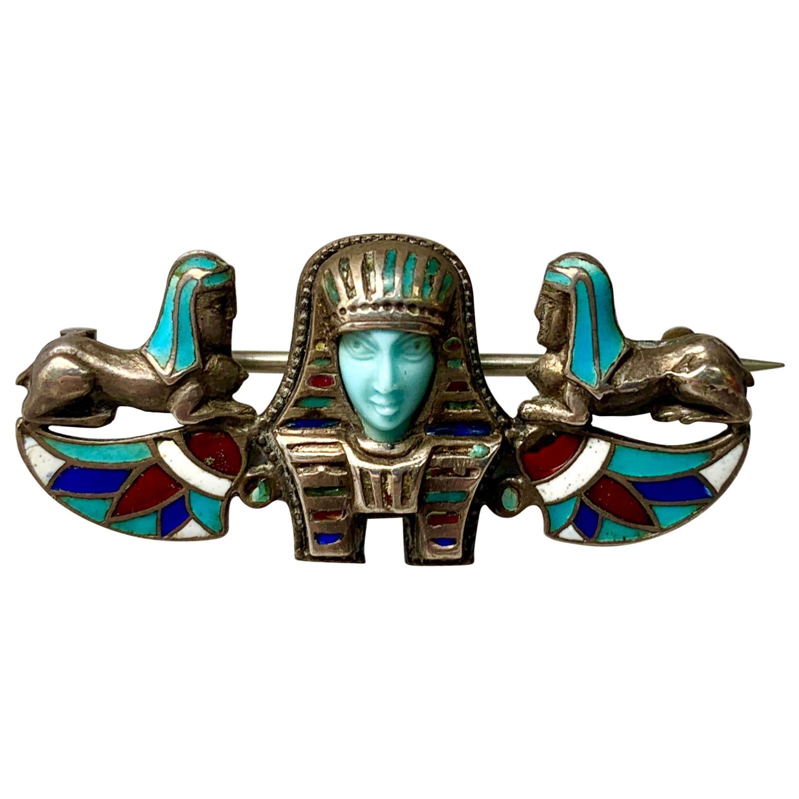 Egyptian Revival Turquoise Pharoah Sphynx Enamel Brooch Pin Art Deco Silver