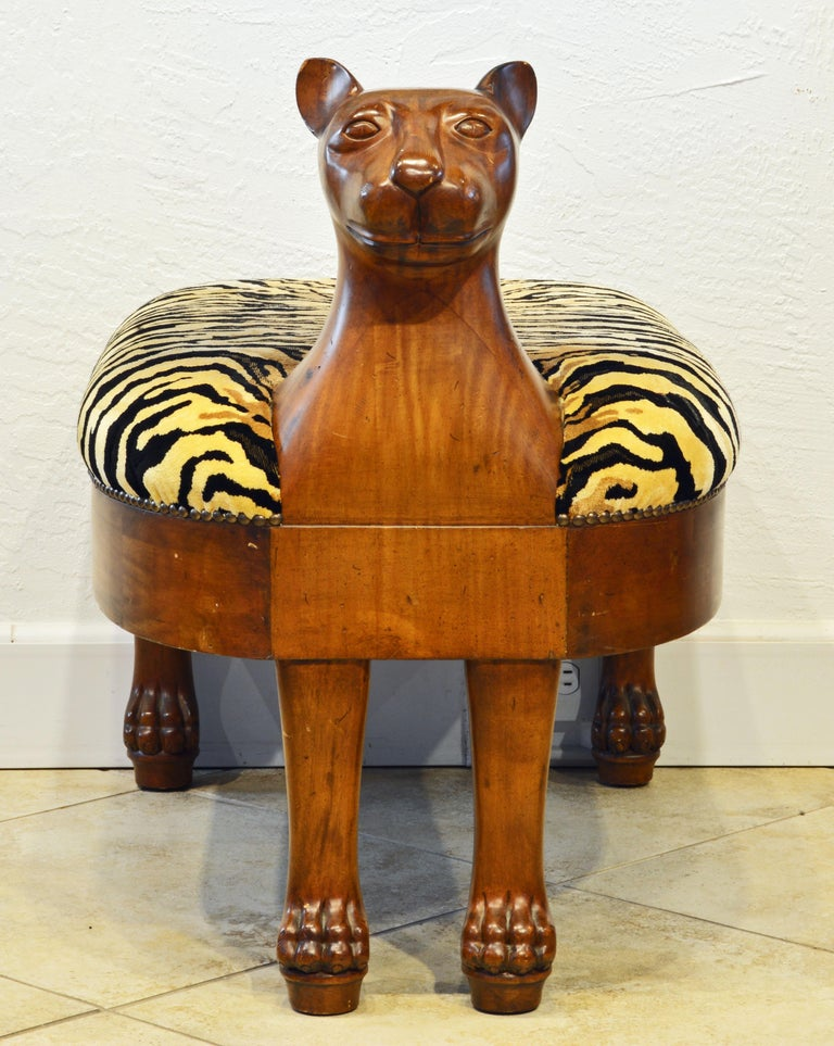 Central American Egyptian Revival Upholstered Carved Hardwood Lion Bench or Ottoman