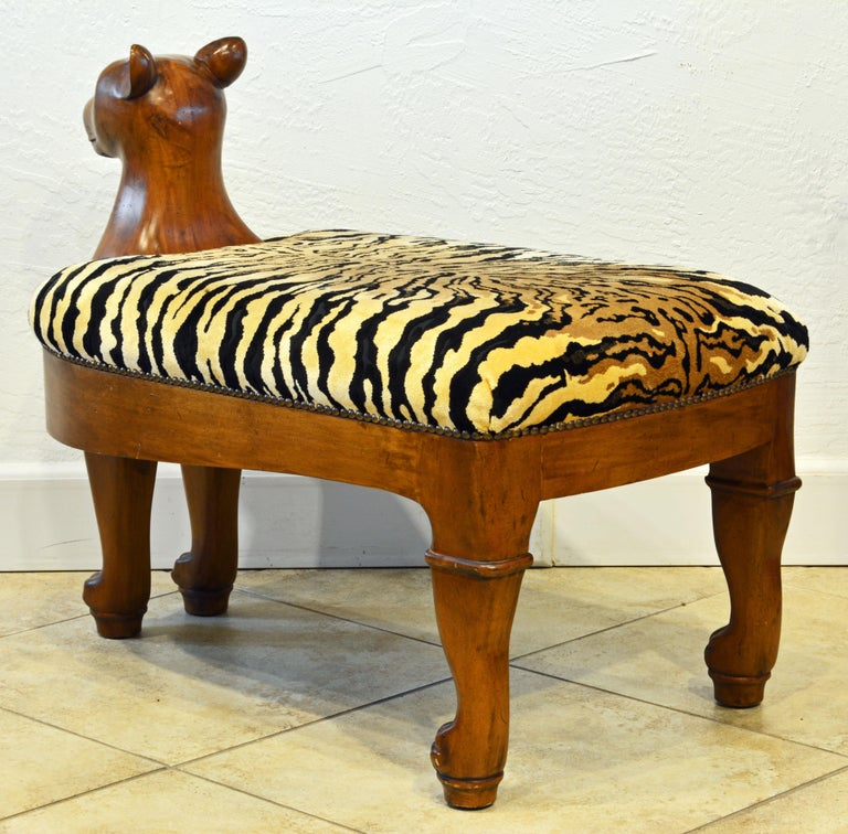 Egyptian Revival Upholstered Carved Hardwood Lion Bench or Ottoman In Good Condition In Ft. Lauderdale, FL