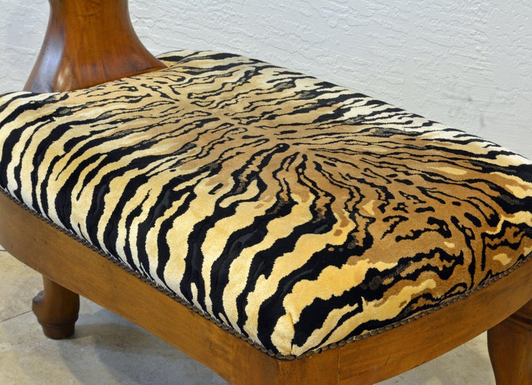20th Century Egyptian Revival Upholstered Carved Hardwood Lion Bench or Ottoman
