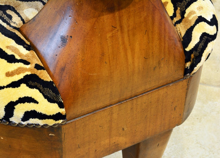 Egyptian Revival Upholstered Carved Hardwood Lion Bench or Ottoman 1