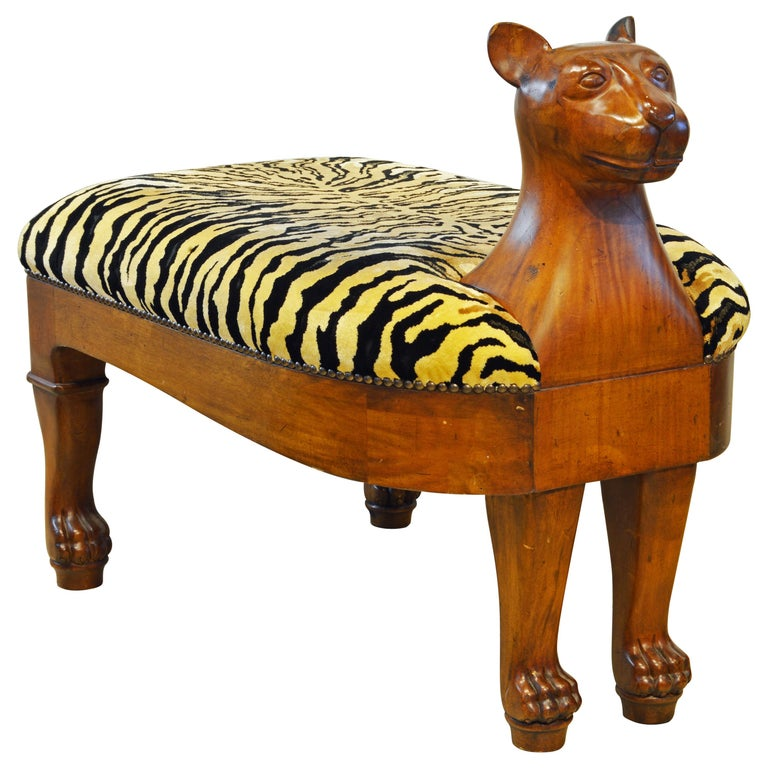 Egyptian Revival Upholstered Carved Hardwood Lion Bench or Ottoman