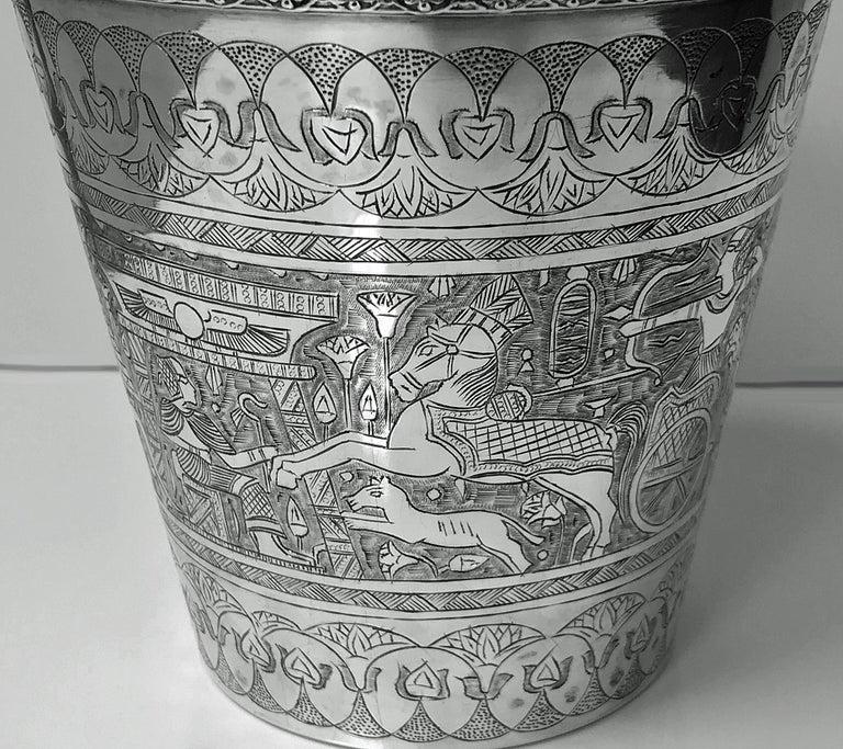 Egyptian Silver Wine Bucket, circa 1920 In Good Condition For Sale In Toronto, Ontario