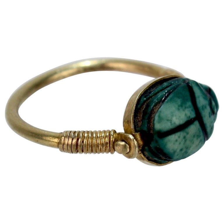 Egyptian Steatite Scarab and Gold Finger Ring with Mohasseb & Son Provenance For Sale