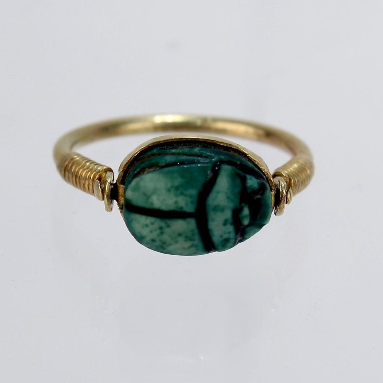 Egyptian Steatite Scarab and Gold Finger Ring with Mohasseb & Son Provenance For Sale 6