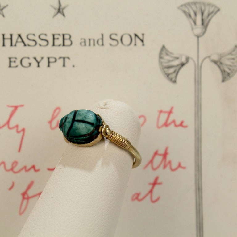 Egyptian Steatite Scarab and Gold Finger Ring with Mohasseb & Son Provenance For Sale 8