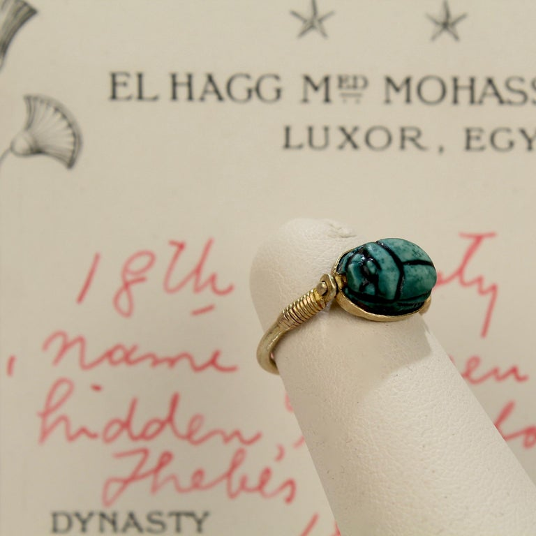 Egyptian Steatite Scarab and Gold Finger Ring with Mohasseb & Son Provenance For Sale 9