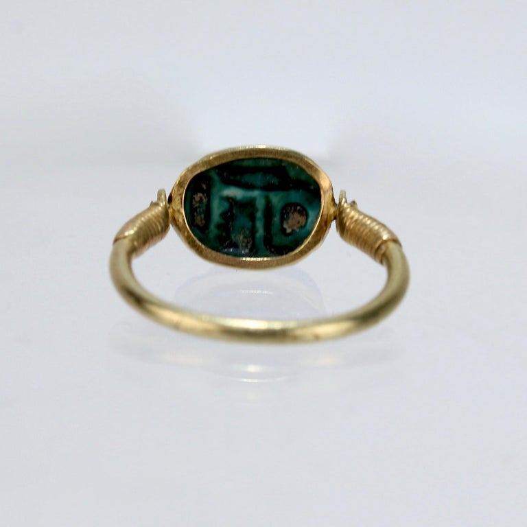 Egyptian Steatite Scarab and Gold Finger Ring with Mohasseb & Son Provenance For Sale 1