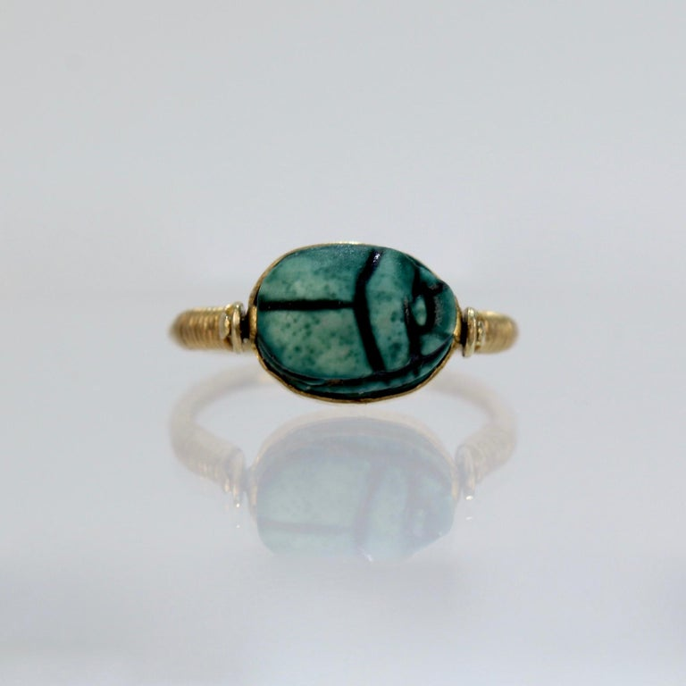 Egyptian Steatite Scarab and Gold Finger Ring with Mohasseb & Son Provenance For Sale 2