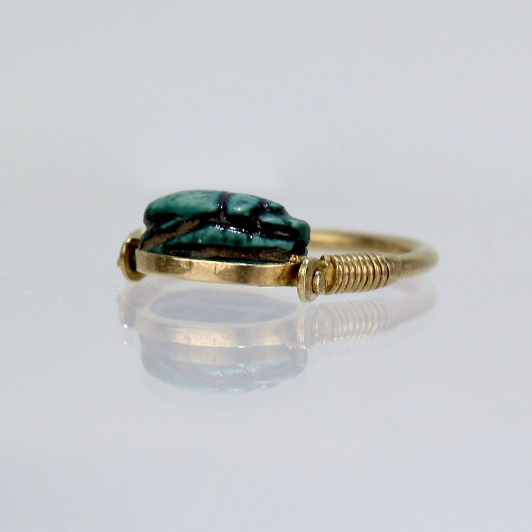 Egyptian Steatite Scarab and Gold Finger Ring with Mohasseb & Son Provenance For Sale 3