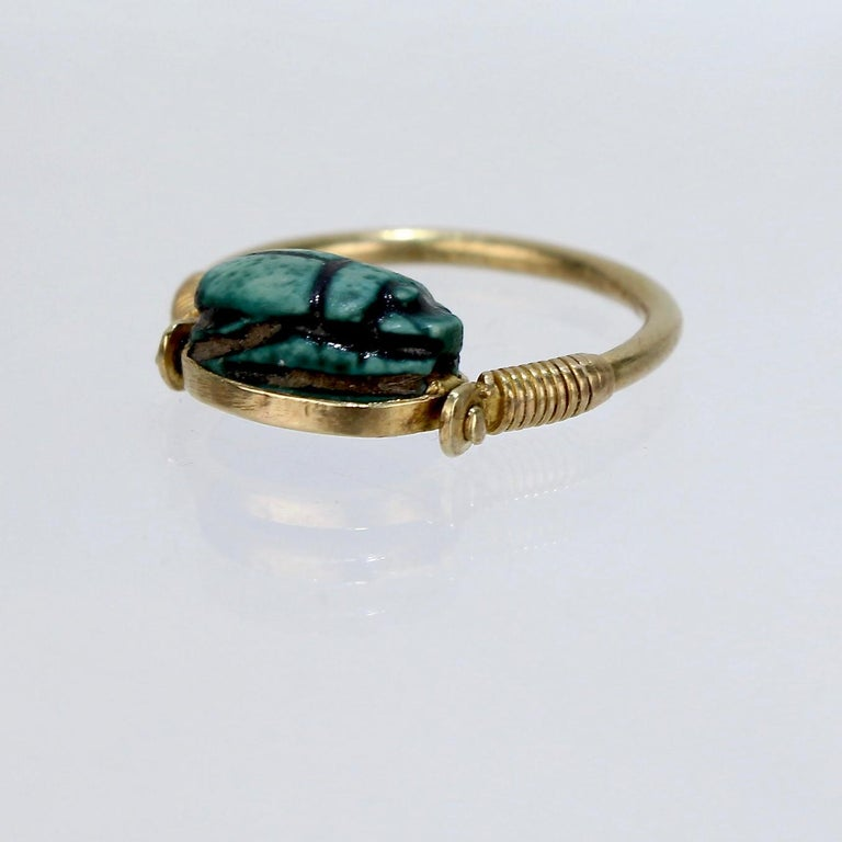 Egyptian Steatite Scarab and Gold Finger Ring with Mohasseb & Son Provenance For Sale 4