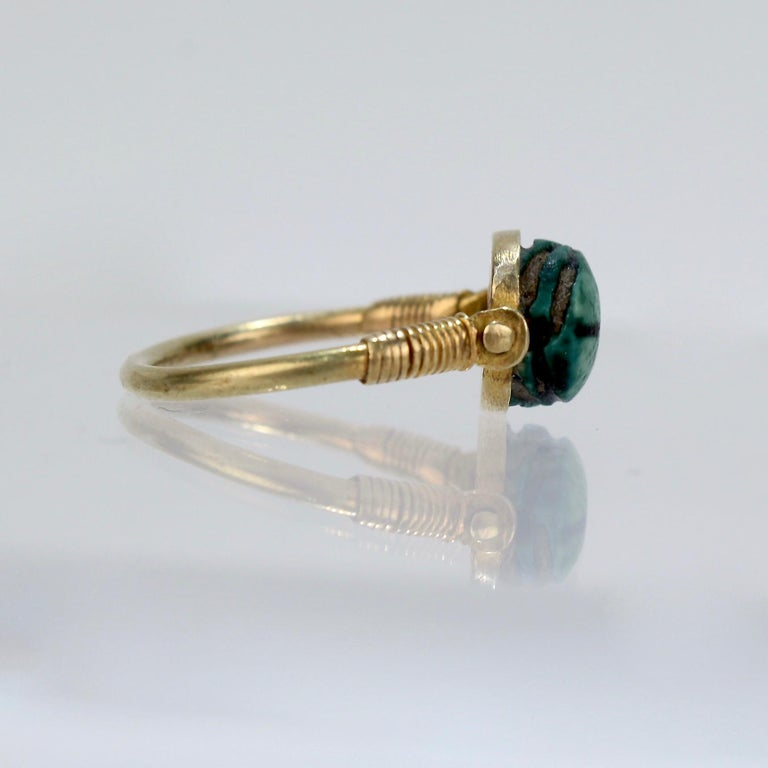 Egyptian Steatite Scarab and Gold Finger Ring with Mohasseb & Son Provenance For Sale 5
