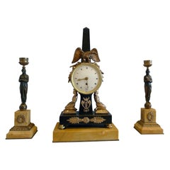 Egyptian Style Clock Set in Patinated Bronze and Sienna Marble