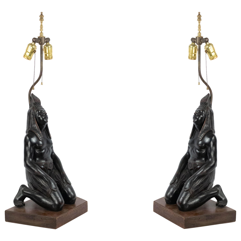 Egyptian Style Ebonized Figural Table Lamps